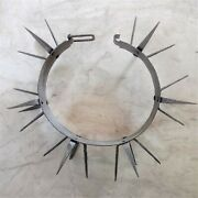 Antique Primitive Metal Spiked Hunting Dog Collar Wolf Bear Attacks Protection