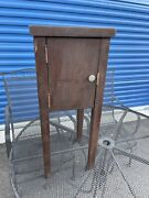 Antique Wood End Table Stand Telephone Cupboard Single Door Refurb 2 Ft Tall