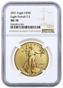2021 1 Oz Gold American Eagle Type 2 50 Ngc Ms70 Brown Label