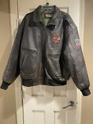 Excelled Anheuser Busch Budweiser Brown Leather Bomber Jacket 2xl