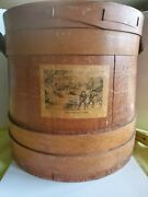 Large Vintage Wooden Firkin Sugar/sewing Bucket With Lid And Handle 10 Inches Tall