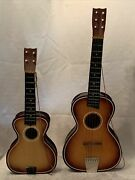 2 Vintage 60andrsquos Child Wood Music Toys Guitar 6 String 29andrdquo And Ukulele 4 String 23andrdquo
