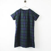 Ichi Antiquite's Antiques Wool Checked Dress /navy Green 2400012266926 Expensive