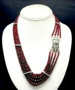 Stunning Necklace Made With Natural Red Spinel 925 Sterling Silver 18kt Gold