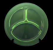Green Depression Uranium Glass Divided Dinner Grill Plate 9.5 - Dotted Border