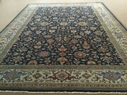 9andrsquo X 12andrsquo Navy Blue Beige Geometric Oriental Rug Han Knotted Wool