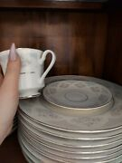 Fine China Dinnerware Set Sapphire By Silverie Rimmed In Platinum 20 Pieces Each