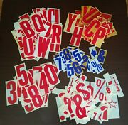 Vintage Letters, Numbers And Punctuation Mark Signs Gas Station Or Retail Store