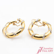 Earrings Clip Connector 750/18k Yellow Gold Diamonds 1 Carat Round