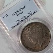 1921 Peace Silver Us 1 Dollar Pcgs Ms64 Dark Toned High Relief Graded Free Ship