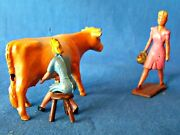 John Hill Lead Figure - Farmer Wife Miking Cow And Carrying Basket