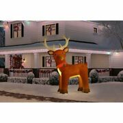 10 Ft Tall Christmas Rudolf Fuzzy Reindeer Led Lights Outdoor Lawn Decoration