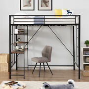 Metal Twin Size Loft Bed With Shelves And Desk, Space-saving Design