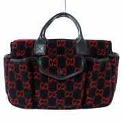 Gg Wool Tote Bag Children's Collection Dark Navy Red Black Leather