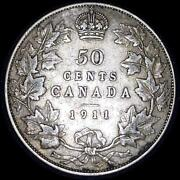 Canada 1911 50 Cents Old Sterling Silver World Coin One Year Type