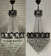 Matching Pair Of Antique Vintage Brass And Crystals Huge Empire Rare Chandeliers