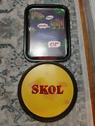Vintage Two Beer Tray Budweiser Frog And Skol