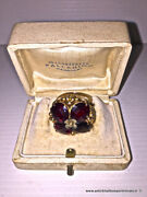 Antique 18 Kt Gold Crown Ring With Italian 4 Almandine Red Garnets Forming Leaf