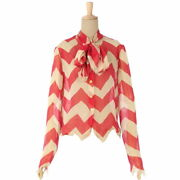 00a With Scarf Silk Chiffon Blouse Shirt Tops Women 's 38 Red