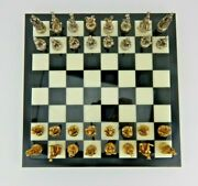 Disney Alabaster Chess Board W/32 Pewter Figures Cast In 24k Gold And Silver Plate