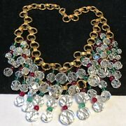 Miriam Haskell Necklace Rare Early Vtg Gilt Red Green Glass Holiday Collection