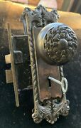 Antique Cast Iron Y And T Yale And Town Doorknob Backplate And Lock Set W Skeleton Key