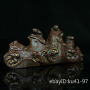7.4 China Antique Old Pure Copper Seiko Carving Wave Pattern Pen Shelf