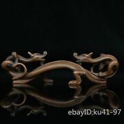 7.2 China Antique Old Pure Copper Seiko Carving Double Dragon-shaped Pen Shelf