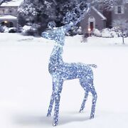 5and039 Tall Christmas Reindeer Sculpture Pre-lit Led Outdoor Holiday Yard Decoration