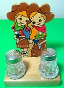 Vintage Western Salt + Pepper Shakers ☆ Wood '50s Retro ☆ Kitchen Collectibles☆