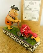 Rare New Jim Shore The Flintstones - Fred Mowing Lawn With Dino 4058333
