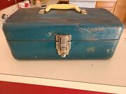 Vintage Distressed Union Steel Chest Tackle Tool Box Corp Blue W/ Contents