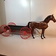 Vtg Louis Marx Johnny West Line Buckboard Wagon And Horse For Parts Or Repair