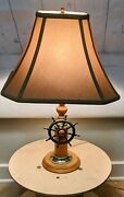 Vintage American Lamp And Shade Co. Ship Helm Nautical Table Lamp