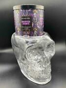Bath And Body Works Halloween Glass Skull Lights Up 3-wick Candle Holder New