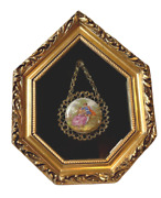 Vtg Victorian Woman Broach With Hooked Chain In Shadow Box Picture Frame