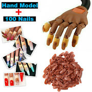 Nail Practice Hand Flexible Diy Movable Training Display Manicure W/ False Nails