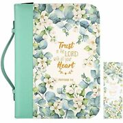 Large Leather Bible Cover Trust In The Lord 11x8.2x2.2 Green For Men/women