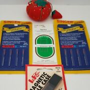 Vtg Singer Needles Size 90/14 Red Sewing Lot Coats Tomato Strawberry Pin Cushion