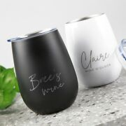 Birthday Christmas Personalised Engraved Black White Stemless Wine Glass Sipper