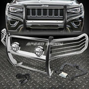 Chrome Brush Grill Guard+round Clear Fog Light For 11-16 Grand Cherokee Wk2 Suv