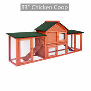 83and039and039 Chicken Coop Rabbit Hutch Wooden Backyard Hen House Pet Cage W/run Ramp Us