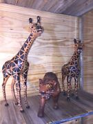 2 Leather Covered Giraffe Statues And 1 Tiger Wood Carved Trio Nice Set 3🐅🦒