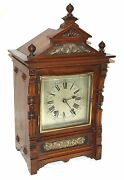 Antique Oak And Brass Ting Tang Bracket Mantel Clock Cleaned And Serviced A60