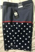 """Nwt Hurley Mens Board Surf Shorts Swimsuit 32 Msrp 45 Inseam 20"""" Stars Stripes"""