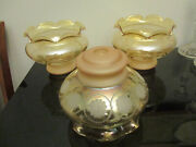 3 Victorian Style Etched Floral Glass Oil Lamp Gas Chandelier 8-1/2 Shades