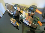 Set 4 Modern Contemporary Hand Carved Wood Painted Duck Decoy Decorative