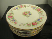 12 Vintage Royal Stafford English Bone China Rochester Floral Luncheon Plates