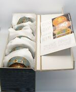 Set Of Five Kutani-ware Porcelain Tea Cups With Lids With Satin Lined Box