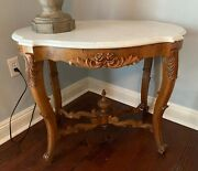 Antique Victorian Rococo Walnut Marble Turtle Top Parlor Side Lamp Table